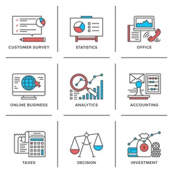 Flat line icons set of business planning process, company accounting organization, big data analytics, corporate taxes optimization. Modern trend design vector concept. Isolated on white background.