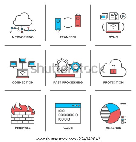 Flat line icons set of cloud computing network connection big data transfer firewall protection wireless communication system resource analysis Modern trend design style vector concept