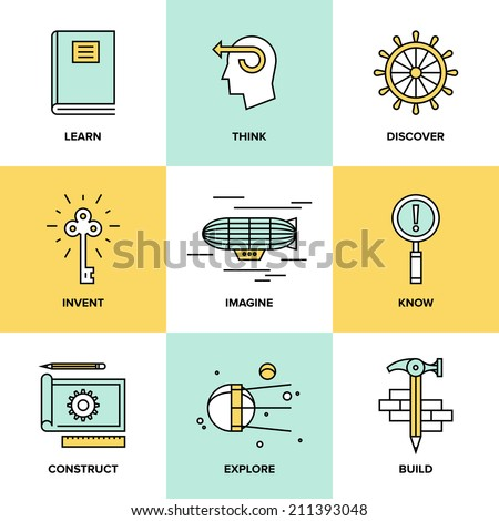 Flat line icons set of creative thinking process, learning and study activities, explore and discovery new things, planning and creating innovation projects. Modern design vector illustration concept.