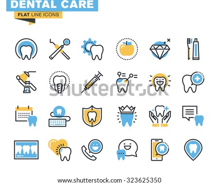 Flat Line Icons Set Of Dental Care Theme Services Equipment And Products