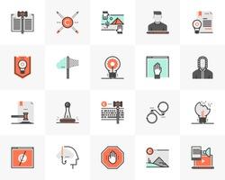 Flat line icons set of digital copyright law for online content. Unique color flat design pictogram with outline elements. Premium quality vector graphics concept for web, logo, branding, infographics