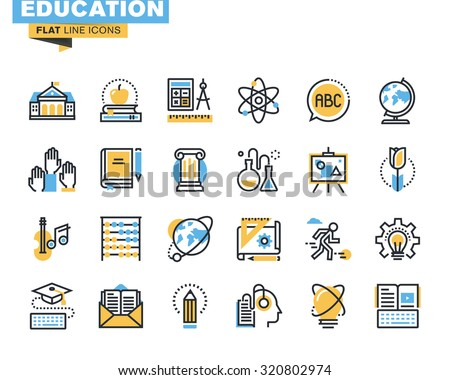flat line icons set of