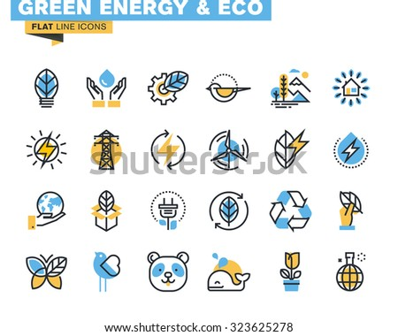 flat line icons set of green