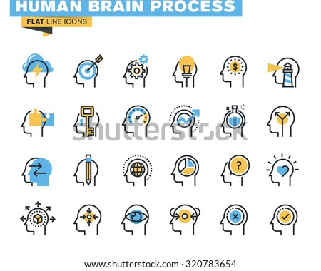 Flat line icons set of human brain process, brain thinking, emotions, mental health, creative process, business solutions, character experience, learning, strategy and development, opportunities.