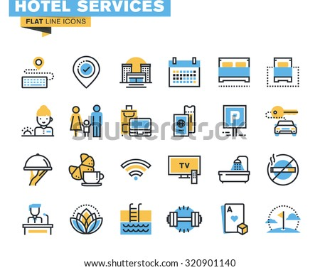 flat line icons set of major