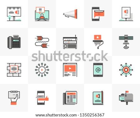 Flat line icons set of media communication, advertising service. Unique color flat design pictogram with outline elements. Premium quality vector graphics concept for web, logo, branding, infographics