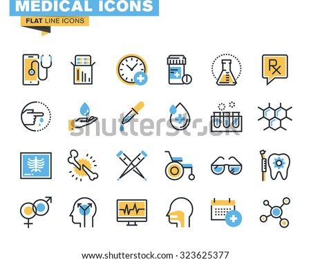 Flat line icons set of medical supplies, healthcare diagnosis and treatment, laboratory tests, medicines and equipment. Vector concept for graphic and web design.