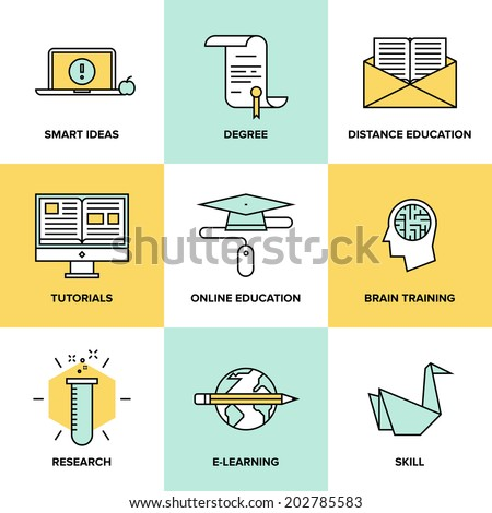Flat line icons set of online education, brain training games, internet tutorials, smart ideas and thinking, electronic learn process, studying skills. Modern design style vector symbol collection.