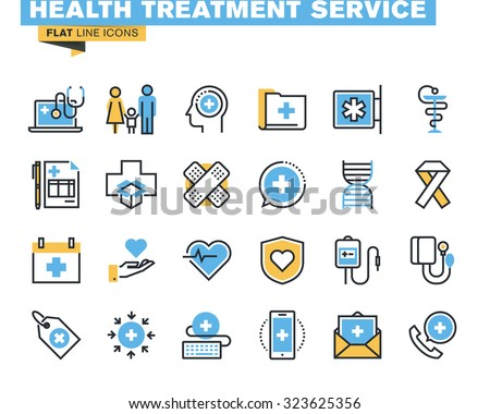 Flat line icons set of online medical support, family health care, health insurance, pharmacy, medical services. Vector concept for graphic and web design.