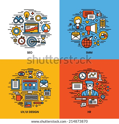 flat line icons set of seo  smm