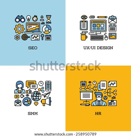 flat line icons set of seo  ui