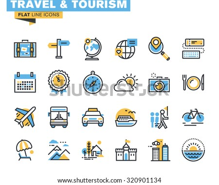 Flat line icons set of travel and tourism sign and object, holiday trip planning, online travel services, tour organization, air travel to cruise, summer and winter vacation, city break.