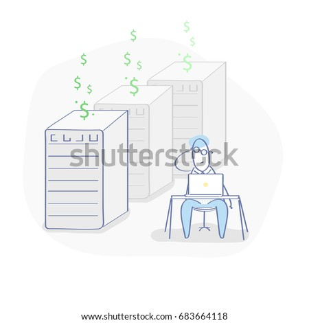Flat line illustration concept of cryptocurrency, bitcoin mining, bitcoin farm. Miner sitting at a desk and mining bitcoin via computer and hardware equipment. Isolated vector in trendy design.