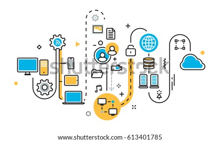 Flat line illustration concept of graph, plan, scheme, mechanism, structure, algorithm, step of saving cloud storage work process, big data, upload sync service, free server for website banner
