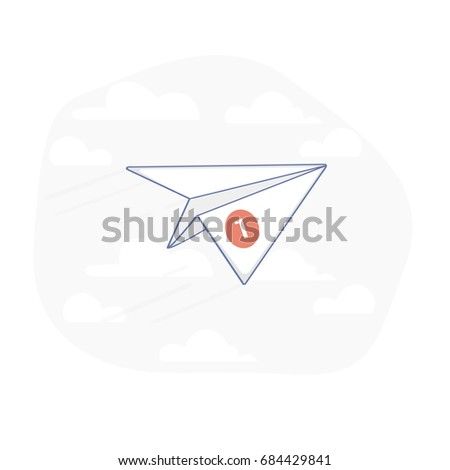 Flat line illustration concept of new message, sms or new letter inbox email. Flying in the sky paper plane with a new message notification about e-mail delivery. isolated vector symbol.