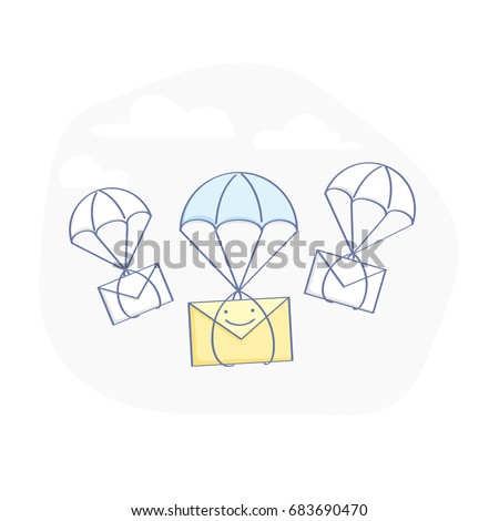 Flat line illustration concept of notifications, inbox messages or e-mail, delivery of letters and parcels, email marketing. Flying from the sky on a parachute envelopes. Isolated vector concept.