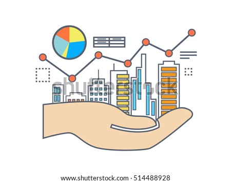 Flat line illustration design for commercial property value analysis, property investment, real estate management
