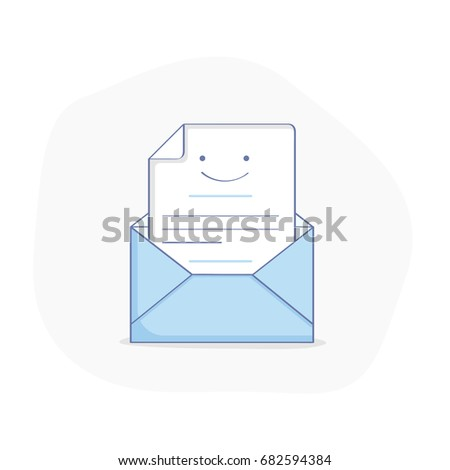 Flat line illustration doodle of opened envelope, message, letter or email. Incoming inbox message or email has been read.