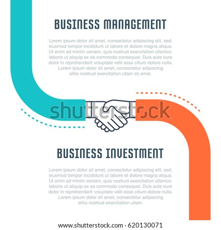 Flat line illustration of business management and business investment. Concept for web banners and printed materials.
