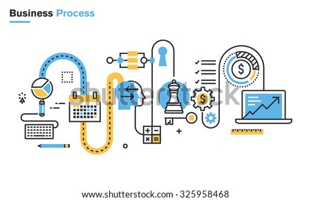 Flat line illustration of business process, market research, analysis, planning, business management, strategy, finance and investment, business success. Concept for web banners and printed materials.