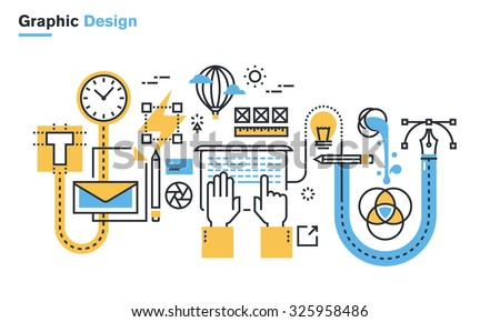 Flat line illustration of graphic design process, creative workflow, stationary design, logo design, branding, packaging design, corporate identity. Concept for web banners and printed materials.