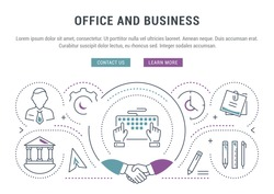 Flat line illustration of office and business. Concept for web banners and printed materials. Template with buttons for website banner and landing page.