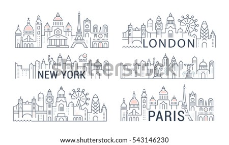 flat line illustration of paris