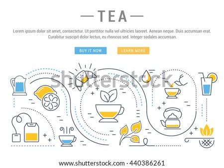Flat line illustration of tea, tea ceremony and sale of tea beverages. Concept for web banners and printed materials. Template with buttons for website banner and landing page.