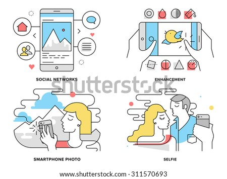 flat line illustration set of