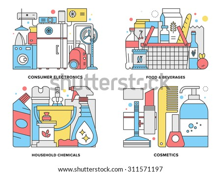 Flat line illustration set of supermarket consumer products such as home appliances, household chemicals, basket with foods, cosmetic goods . Modern design vector concept, isolated on white background