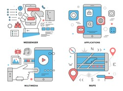 Flat line illustration set of various smartphone apps, mobile gps mapping navigation, phone chat  messenger, multimedia technology elements. Modern design vector concept, isolated on white background.