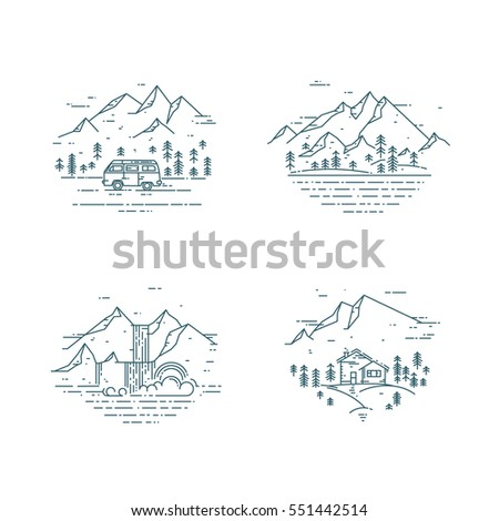 Flat line illustration with wild landscapes, travel concept set. Trendy vector design with house, trees, mountains, minivan and waterfall. Nature exploration card collection