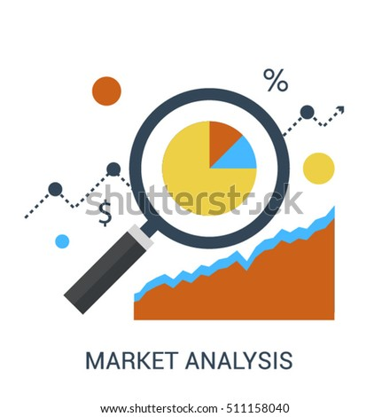 Flat line infographic icon concept of Market Analysis, Marketing Data Analytics of development and growth. Magnifying glass and growing graph. Vector business icon design