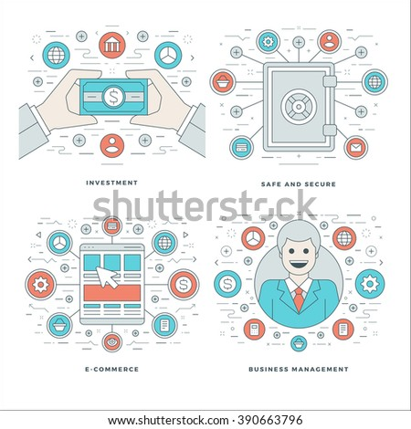 Flat line Investment, Security, E-commerce, Management Business Concepts Set Vector illustrations. Modern thin linear stroke vector icons. Website Header Graphics, Banner, Infographics Design.
