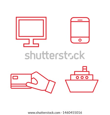 Flat line minimal e-commerce icon set. Simple vector e-commerce icon set. Isolated e-commerce icon set for various projects.