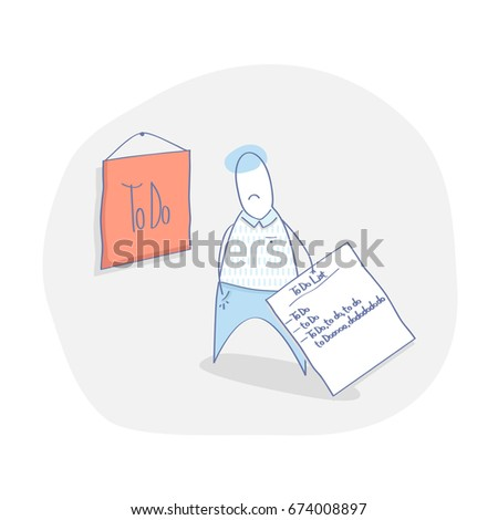 Flat line modern illustration concept of To Do List template, checklist or task list. Cute man with to do work plan. Isolated vector.