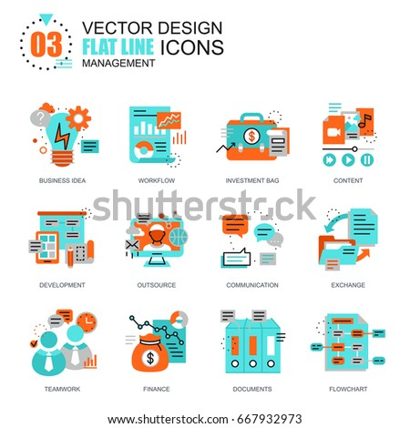 Flat line project management icons concepts set for website and mobile site and apps. Business data and documents workflow. New style flat simple pictogram pack. Vector illustration.