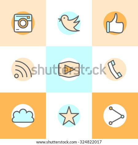 Flat line set icons designs of camera, like, bird, phone, website, share. Represents approval, vote, saying yes, recommendation, appreciation. #324822017
