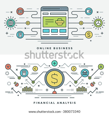 Flat line Shopping and Internet Business Concept Vector illustration. Modern thin linear stroke vector icons. Website Header Graphics, Banner, Infographics Design, Promotional Material. Money Icon.