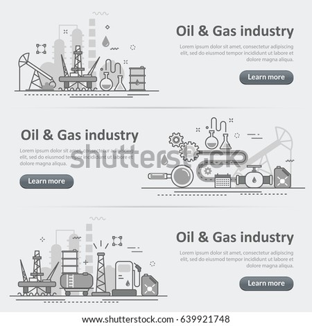 Flat line vector design concept banner templates set of oil and gas production industry process, petroleum product, extraction, valving for design header, post, website on gray paper background