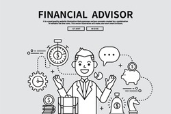 Flat line vector editable graphic illustration, business finance concept, financial advisor