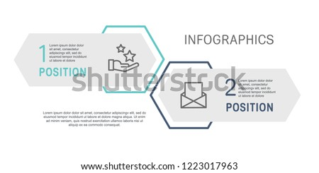 Flat line vector illustration. Infographic template with two elements, hexagons, rectangle. Timeline step by step. Designed for business, presentations, web design, diagrams, training with 2 steps.