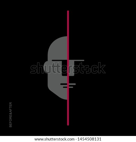 Flat linear design. Modern Art. The philosophical concept of human life before and after the fateful trait. Vector illustration.