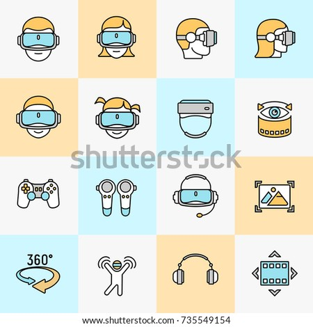Flat linear icon set, virtual reality icons of augmented technology on color. Vector illustration.