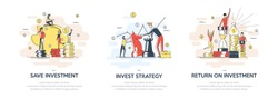 Flat linear illustration of Investing Plans set concept. Vector banner, icon, illustration. Save Investment. Strategy and return on investment. Isolated on white background.