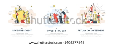 Flat linear illustration of Investing Plans set concept. Vector banner, icon, illustration. Save Investment. Strategy and return on investment. Isolated on white background. Stockfoto ©