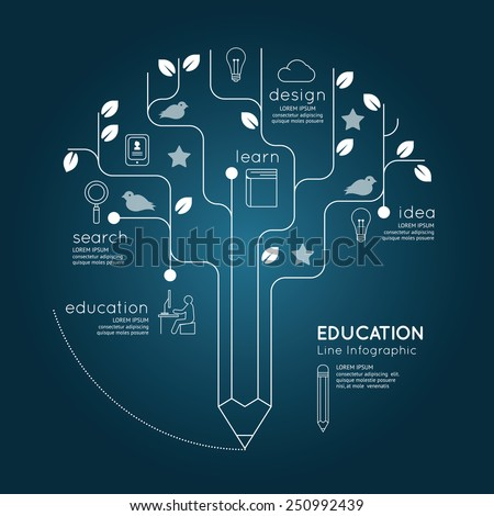 Flat linear Infographic Education Pencil Tree Outline concept.Vector Illustration