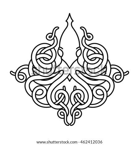flat linear kraken illustration