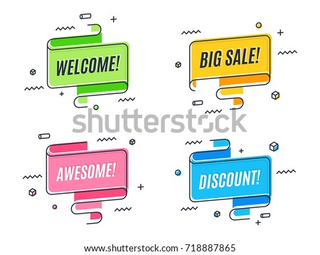 Flat linear promotion ribbon banner, scroll,  price tag, sticker, badge, poster. Vector illustration set