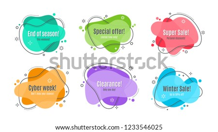 Flat linear promotion ribbon banner, scroll, price tag, sticker, badge, poster. Vector illustration set #1233546025